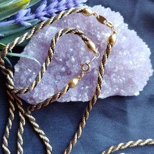 """2 Trifari Black & Gold """"Chain"""" Necklaces"""